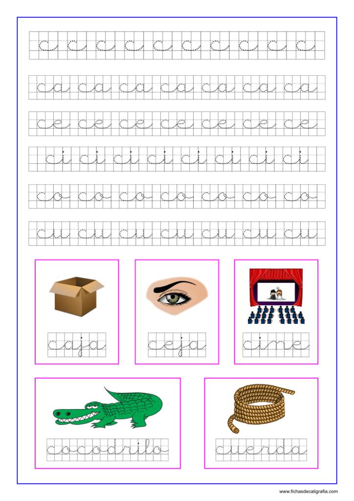Ficha caligrafía cuadricula letra c y vocales