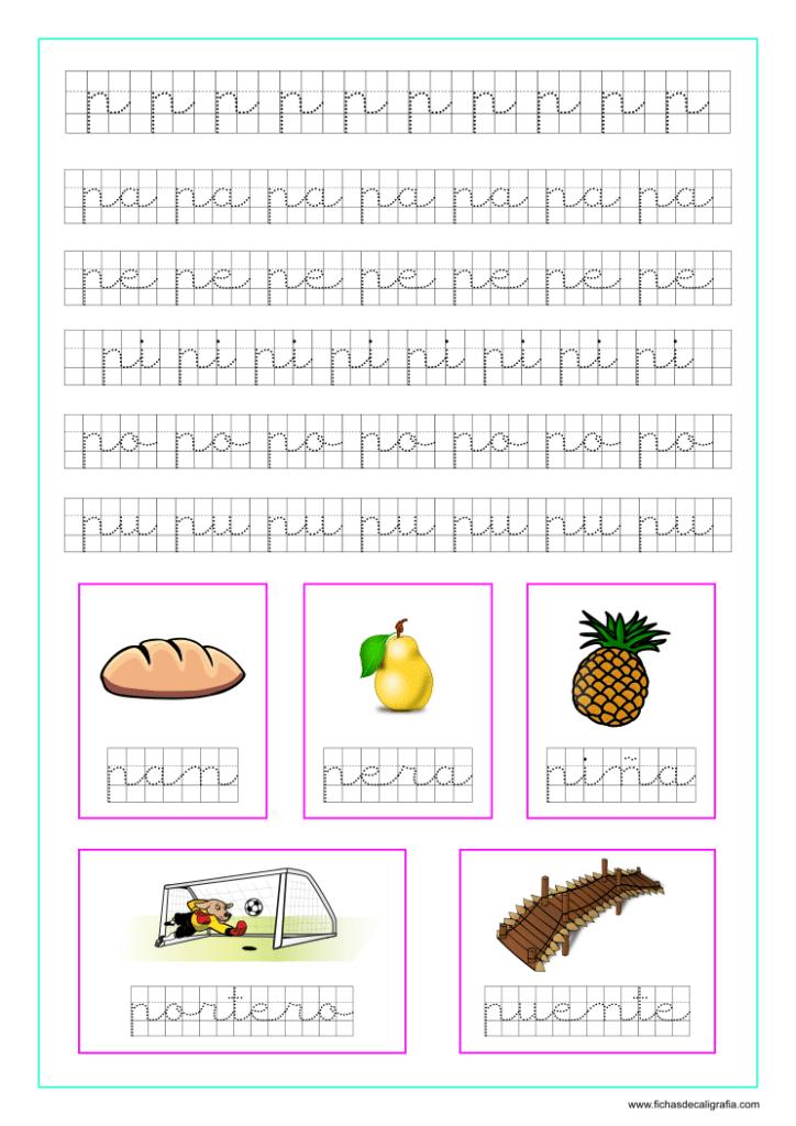 Ficha caligrafía cuadricula letra p y vocales