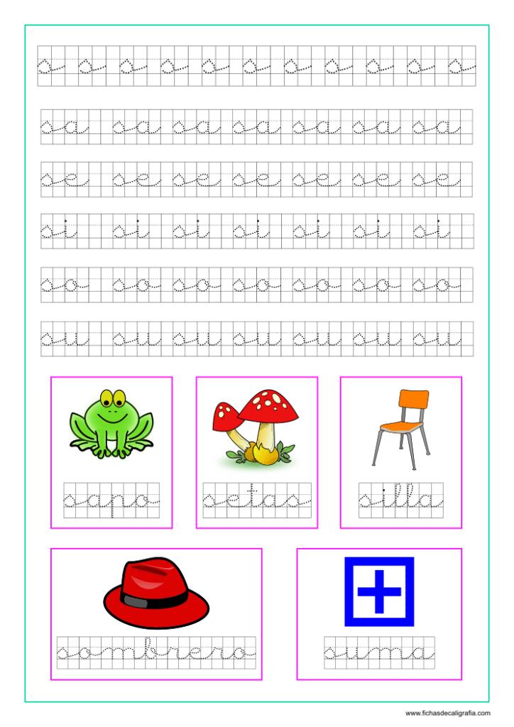 Ficha caligrafía cuadricula letra S y vocales