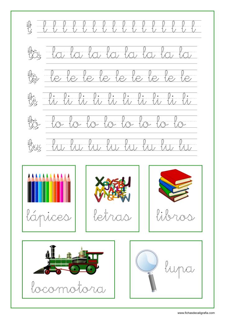 Caligrafia letra L y vocales