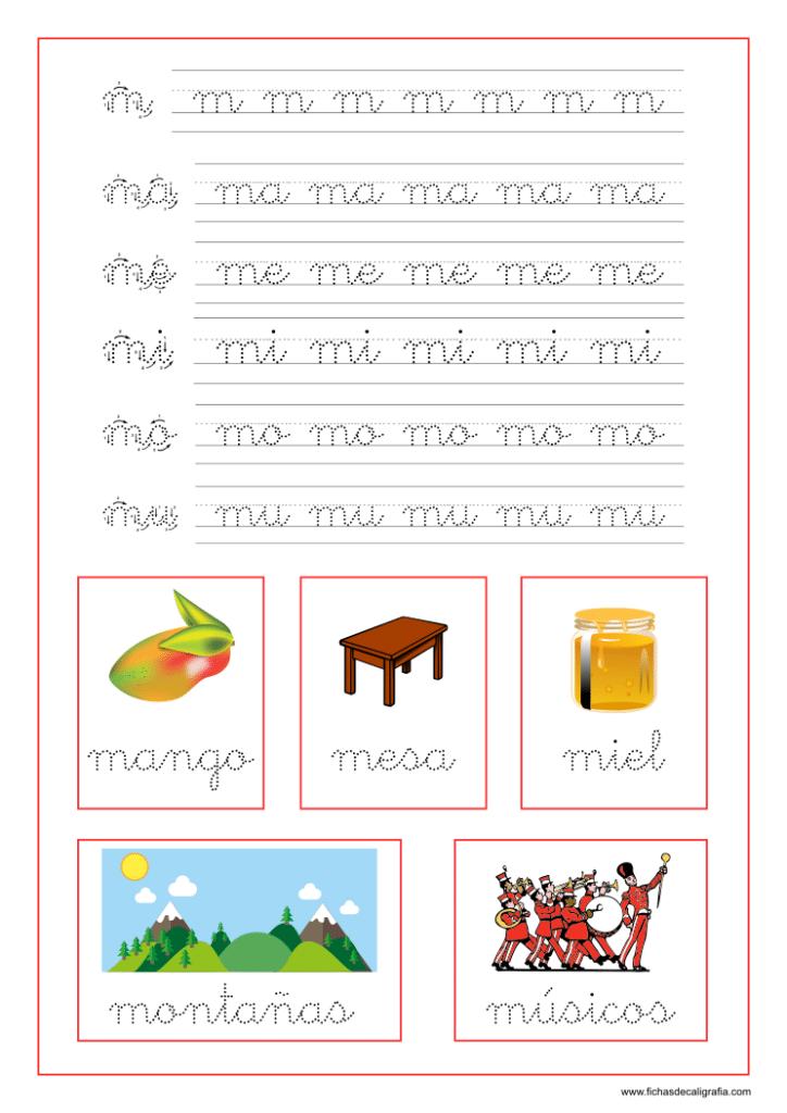 Ficha caligrafía letra M y vocales