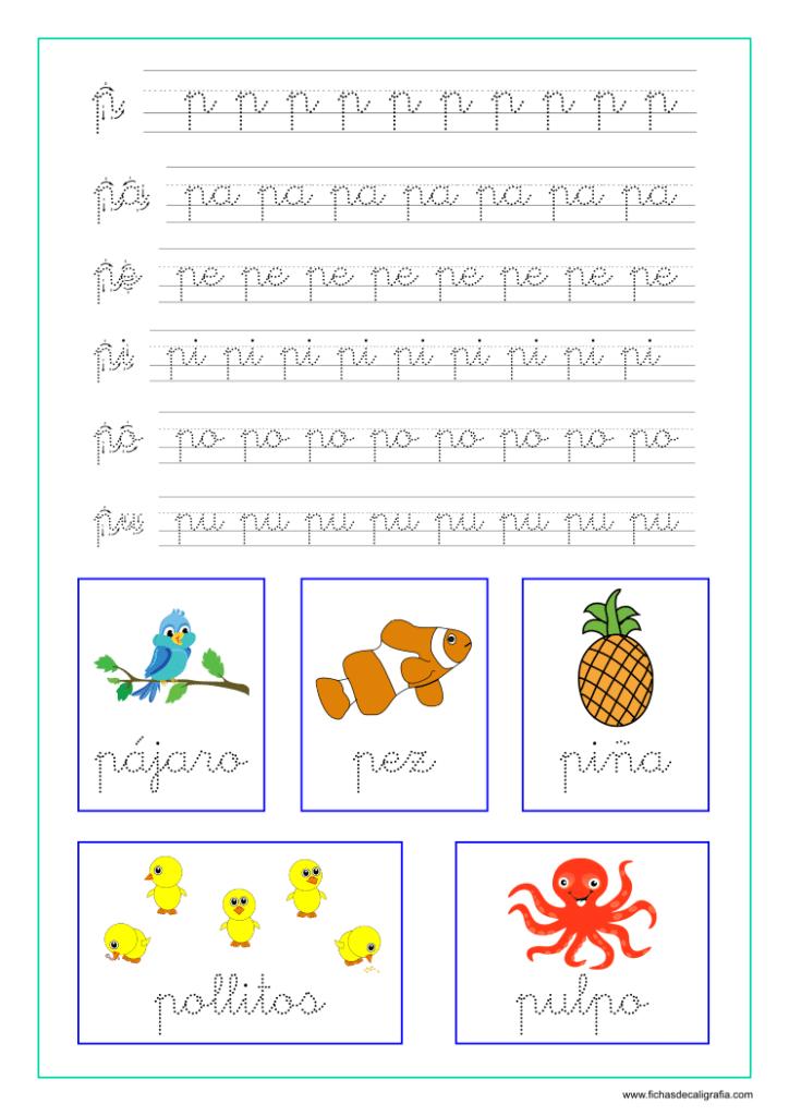 Ficha caligrafia sílabas con p