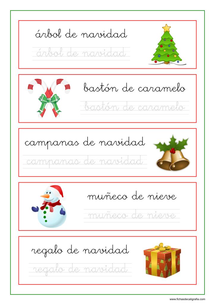 Caligrafía con palabras y dibujos de navidad