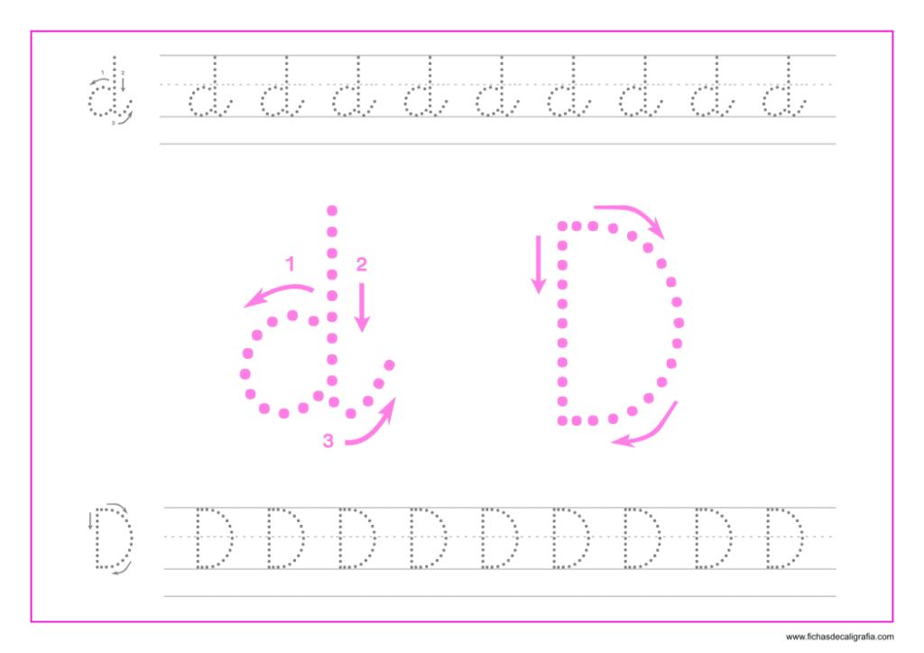 Ficha de caligrafía de la letra D