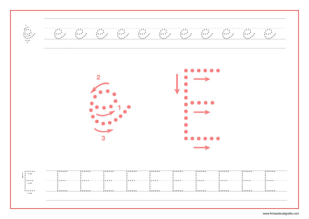 Ficha de caligrafía de la vocal E