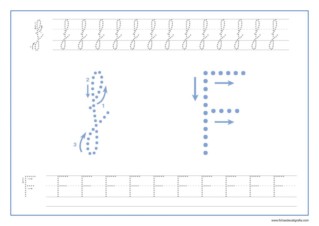 Ficha de caligrafía de la letra F