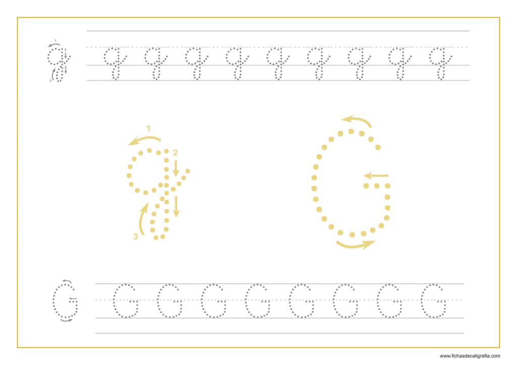 Ficha de caligrafía de la letra G