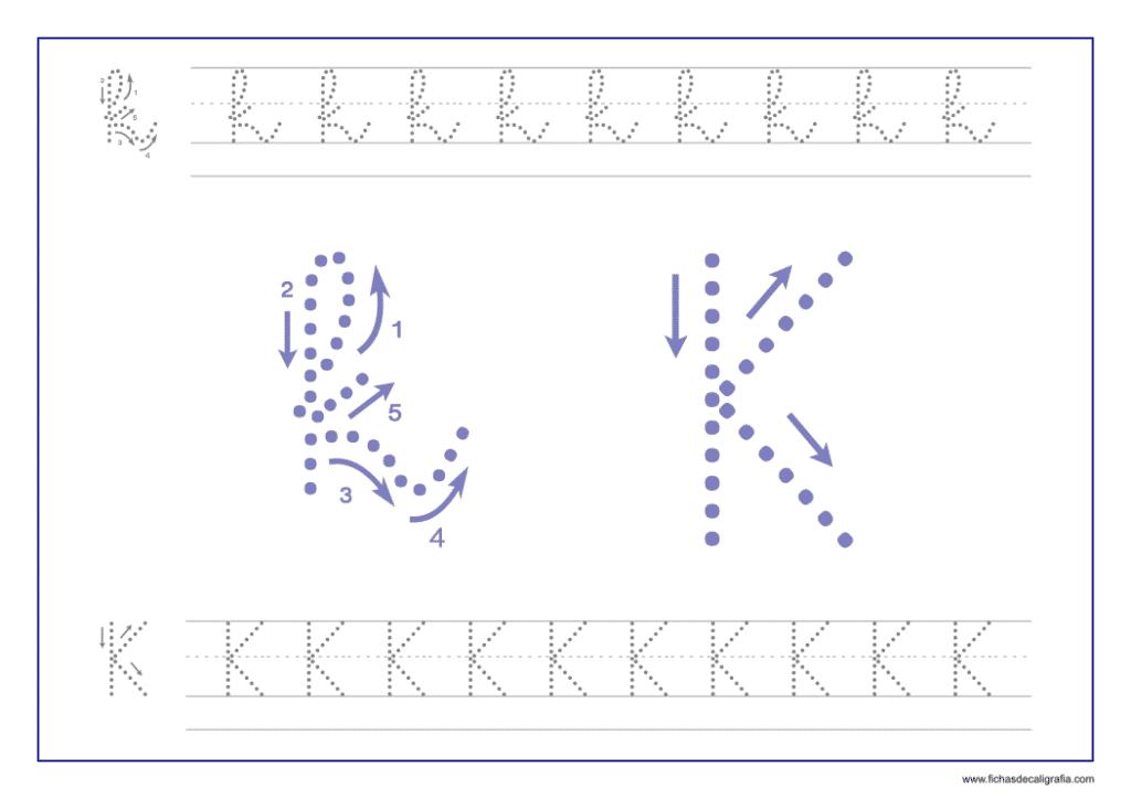 Ficha de caligrafía de la letra K