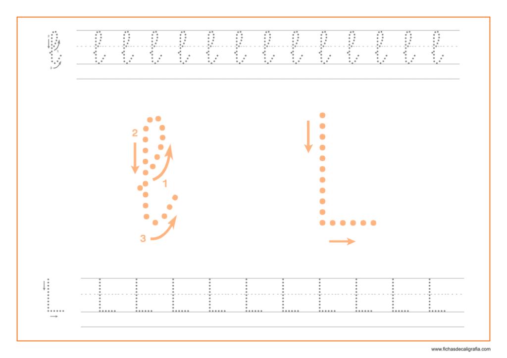 Ficha de caligrafía de la letra L