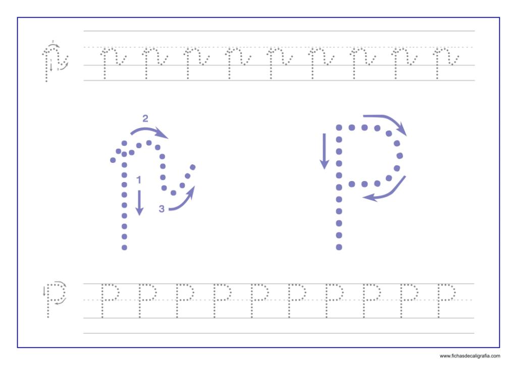 Ficha de caligrafía de la letra P