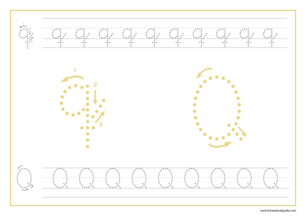 Ficha de caligrafía de la letra Q