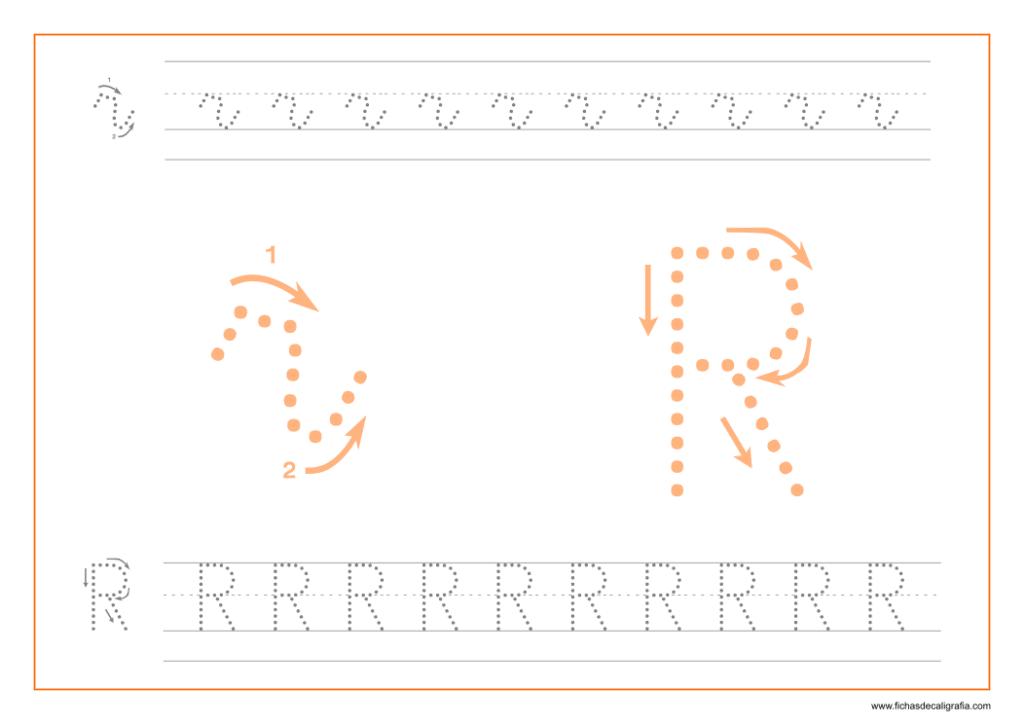 Ficha de caligrafía de la letra R