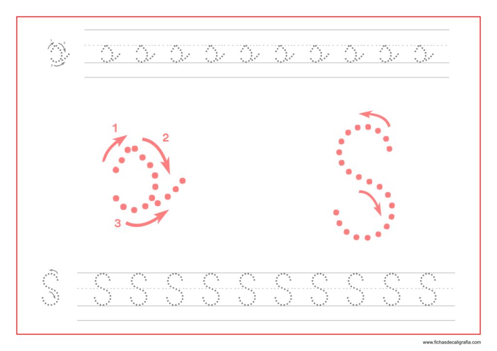 Ficha de caligrafía de la letra S