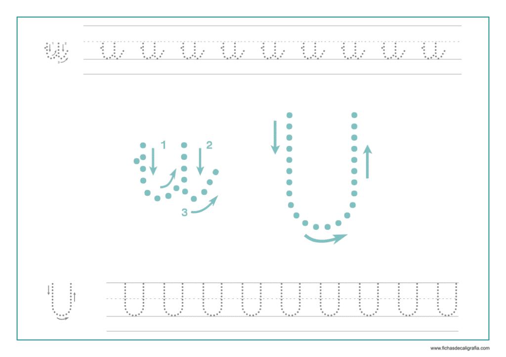 Ficha de caligrafía de la vocal U