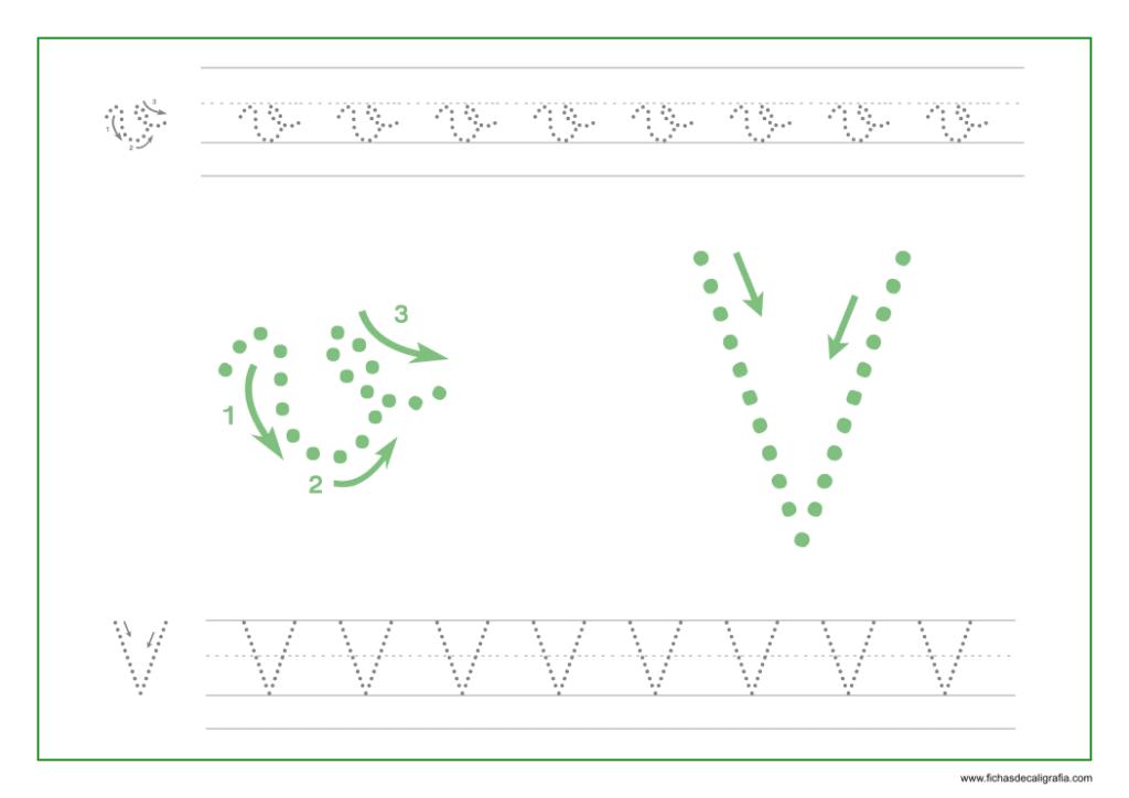 Ficha de caligrafía de la letra V