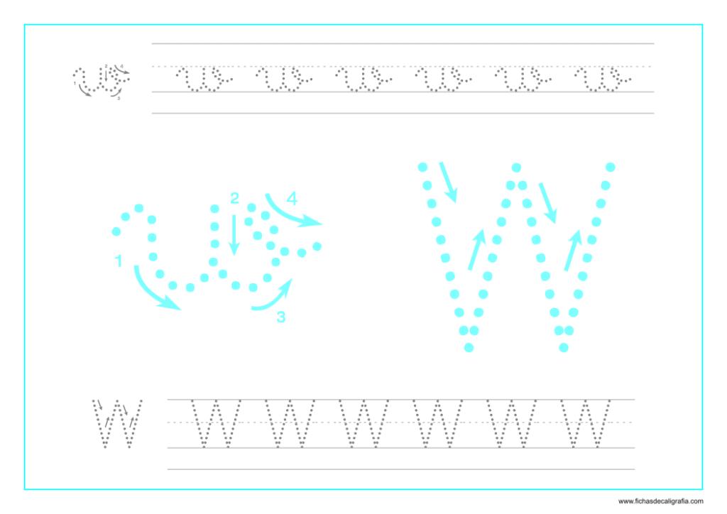 Ficha de caligrafía de la letra W