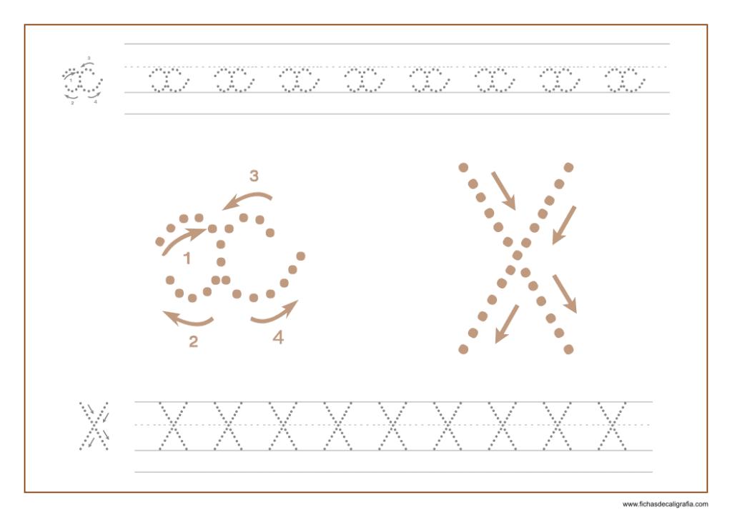 Ficha de caligrafía de la letra X