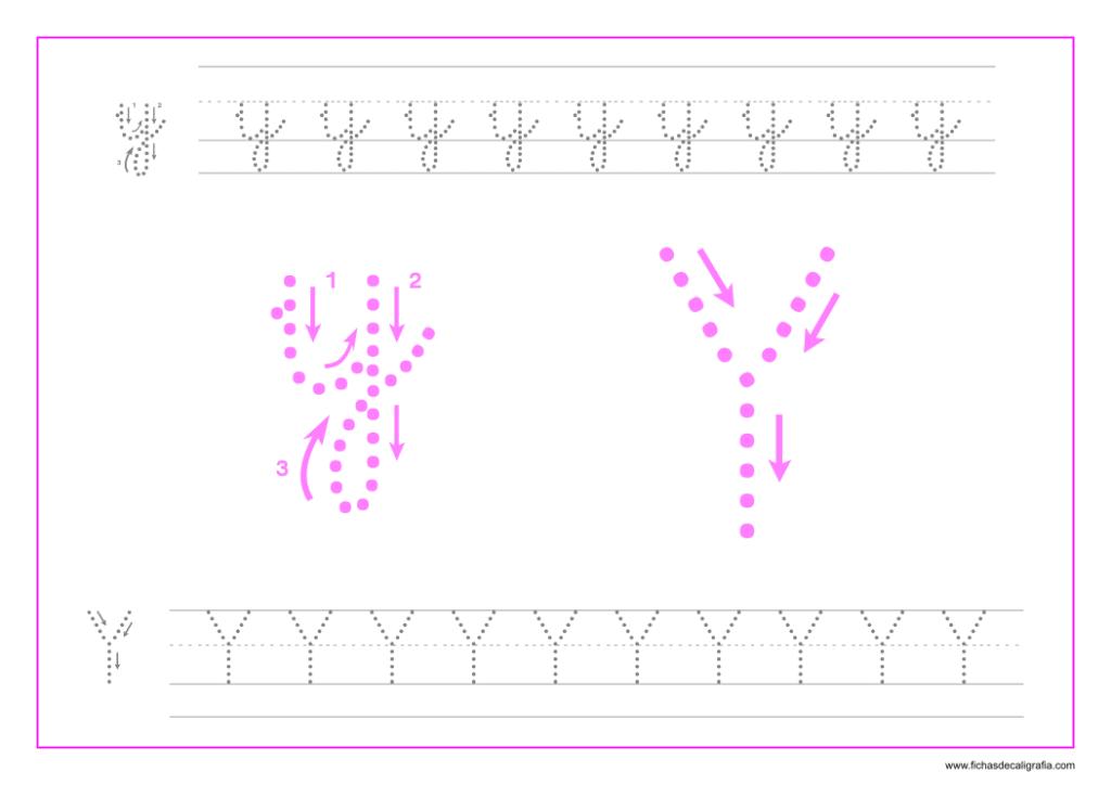 Ficha de caligrafía de la letra Y