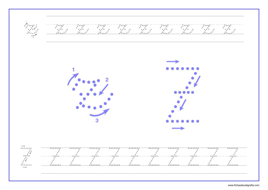 Ficha de caligrafía de la letra Z