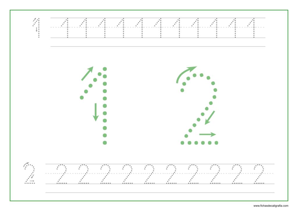 Ficha de caligrafía de los numeros 1 y 2