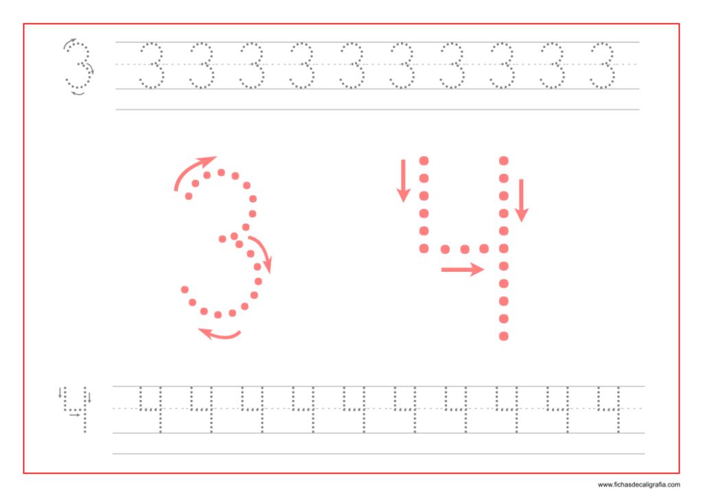 Ficha de caligrafía de los numeros 3 y 4