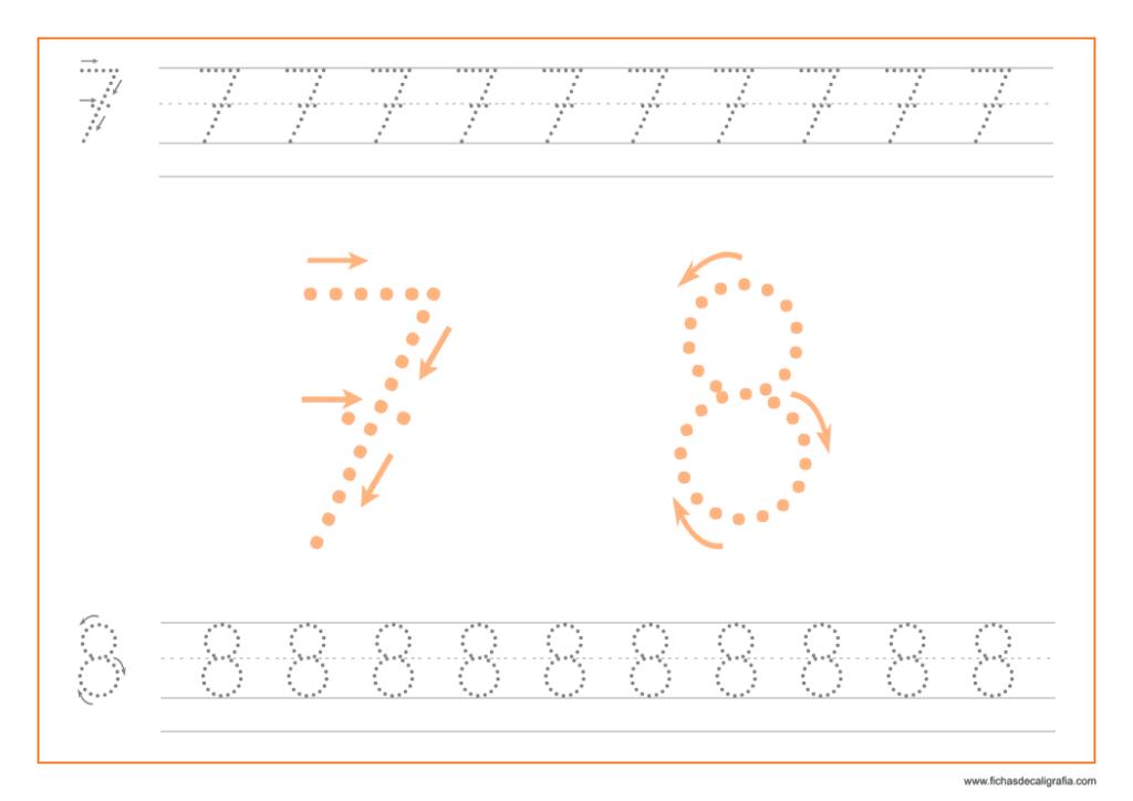 Ficha de caligrafía de los numeros 7 y 8