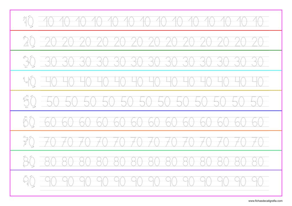 Ejercicio de caligrafía con números del 10 al 90