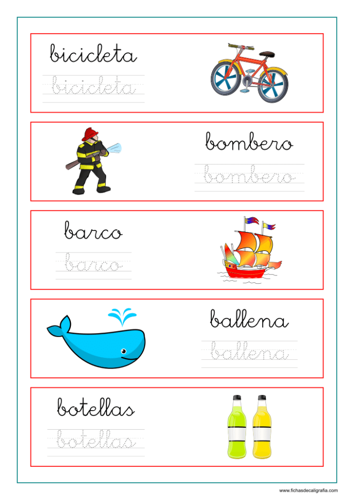 Ficha de caligrafía vocabulario letra B