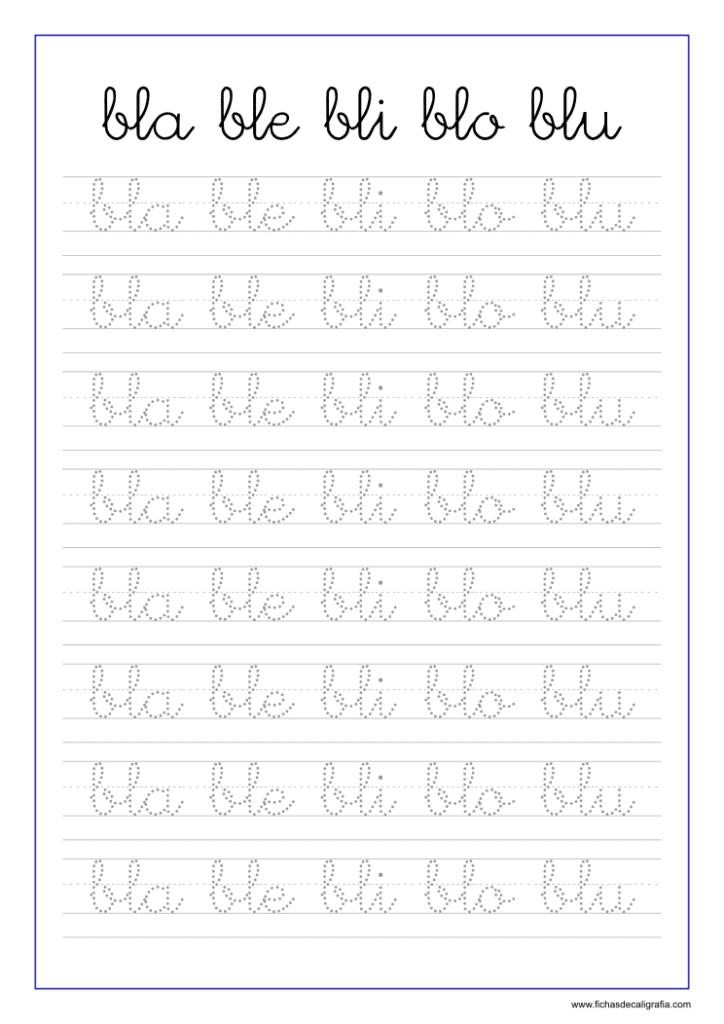 Ficha de caligrafía de las sílabas bla, ble, bli, blo, blu