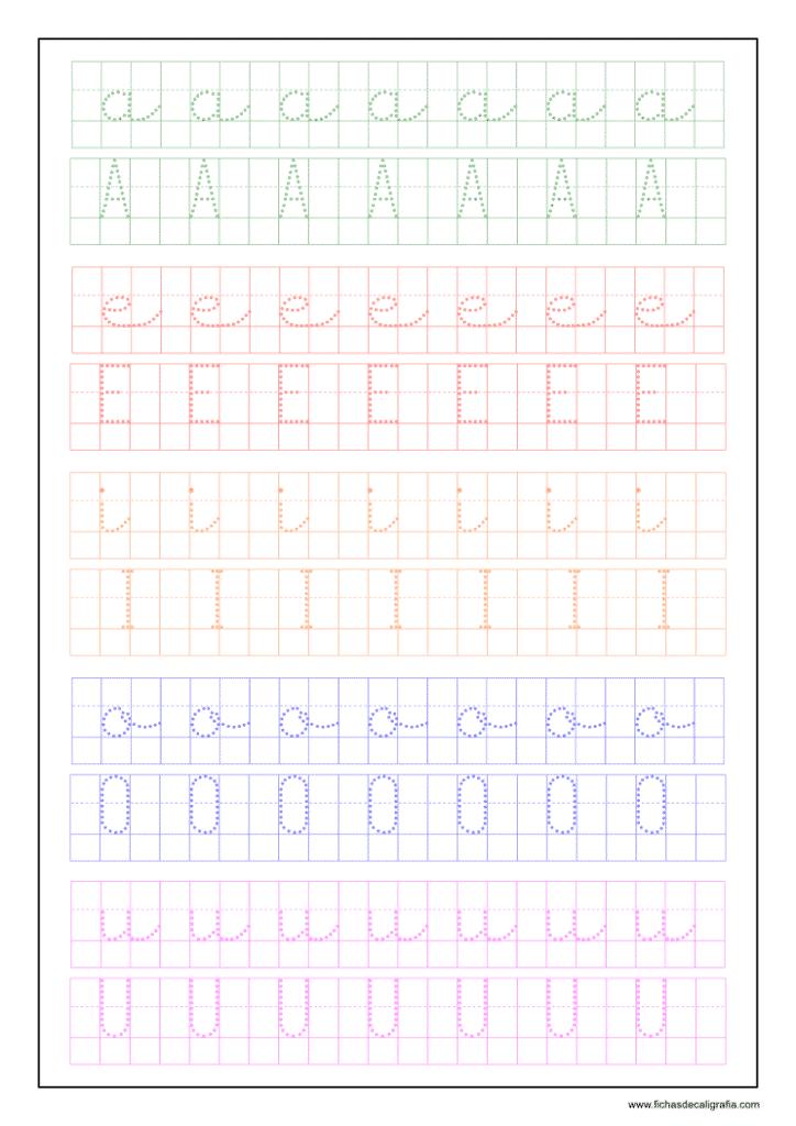 Ficha vocales cuadrícula imprimir