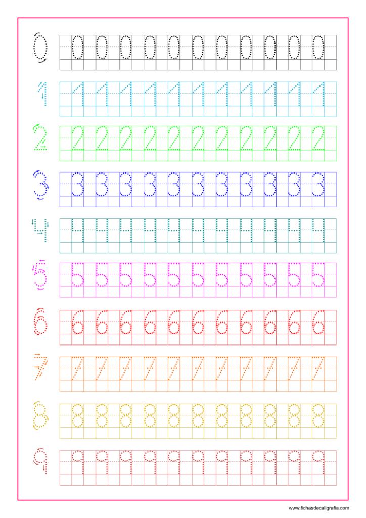 Ficha de caligrafía con números del 0 al 9