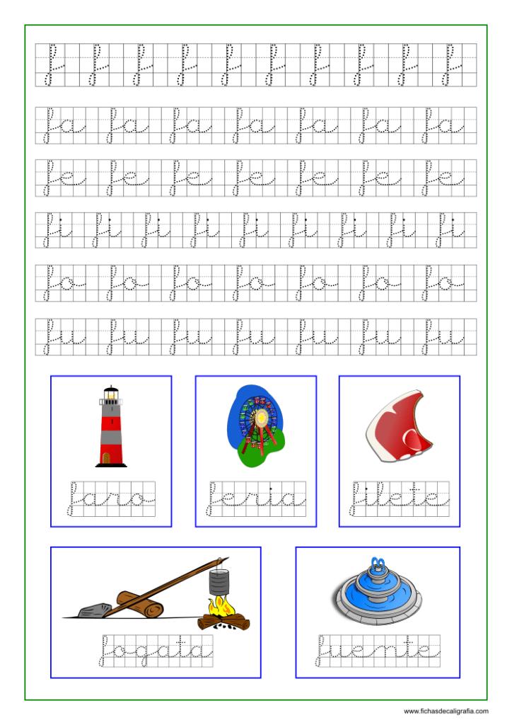Ficha caligrafía cuadricula letra f y vocales