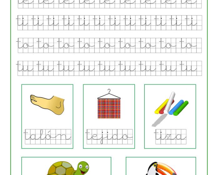 Ficha caligrafía cuadricula letra t y vocales, recursos educativos