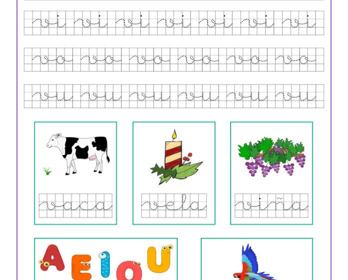 Ficha caligrafía cuadricula letra v y vocales, recursos educativos