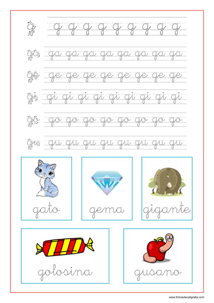 Ficha caligrafia sílabas con g