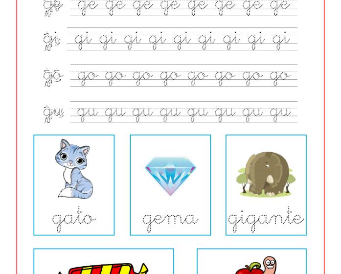 Ficha caligrafia sílabas con g, recursos educativos