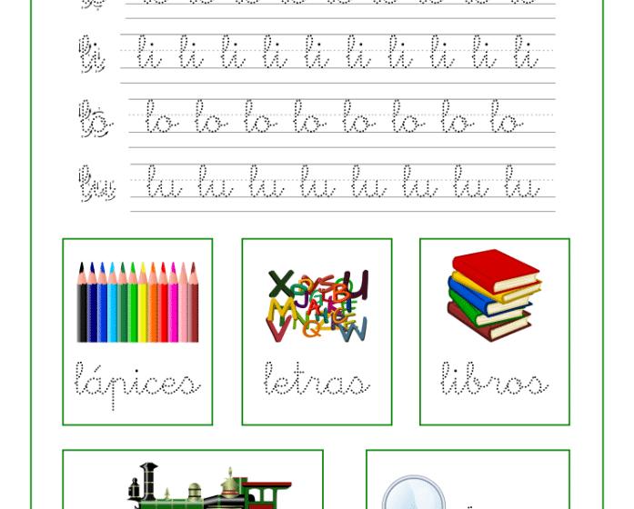 Caligrafia letra L y vocales, recursos educativos