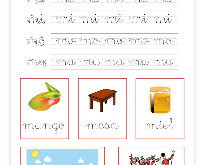 Ficha caligrafía letra M y vocales, recursos educativos