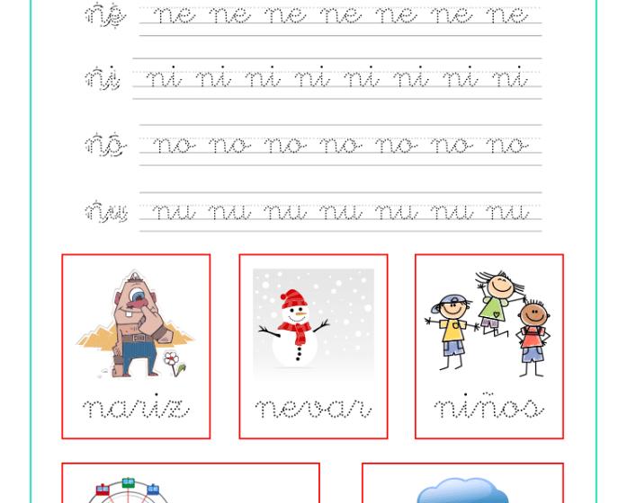 Ficha caligrafia sílabas con n, recursos educativos