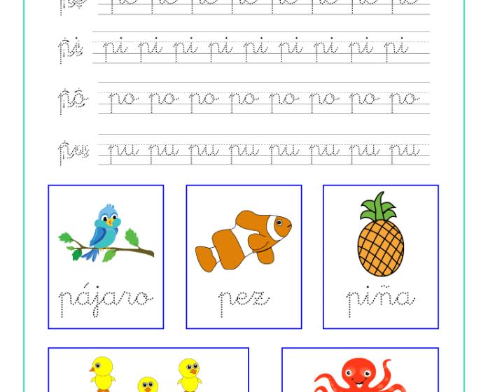 Ficha caligrafia sílabas con p, recursos educativos