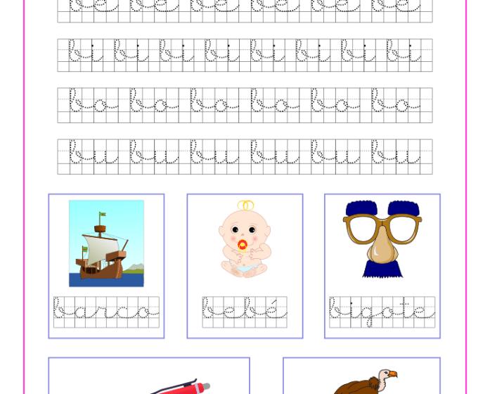Ficha caligrafía en cuadricula con la letra b y las vocales, recursos educativos