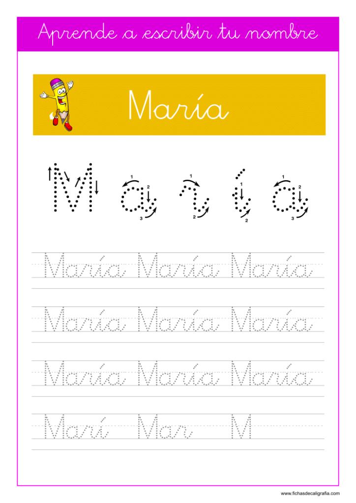 Caligrafía para aprender a escribir el nombre propio, María