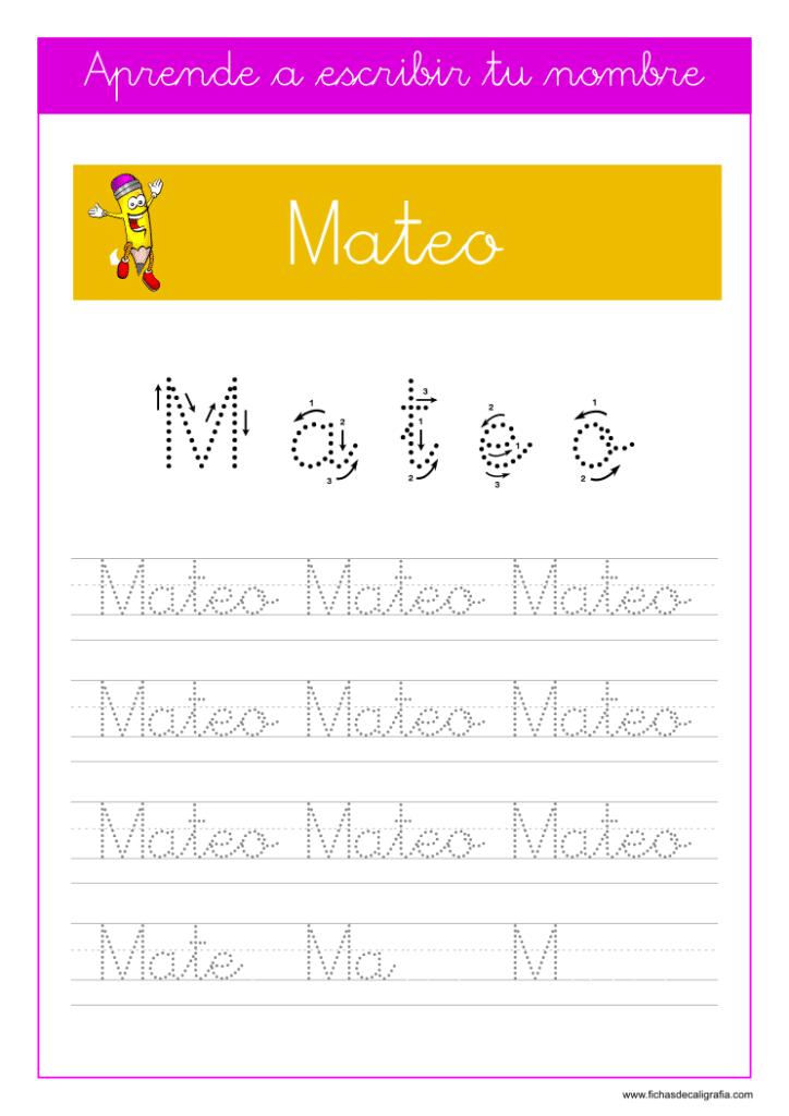 Caligrafía para aprender a escribir el nombre propio, Mateo