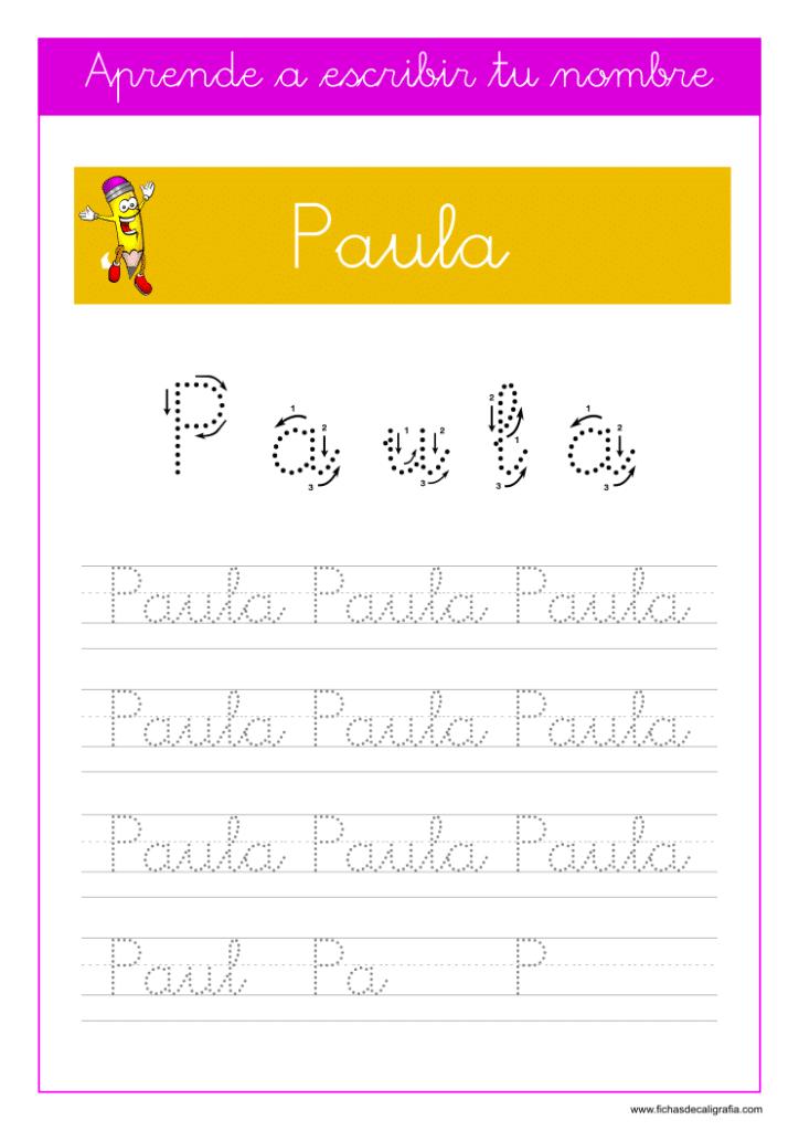 Caligrafía para aprender a escribir el nombre propio, Paula