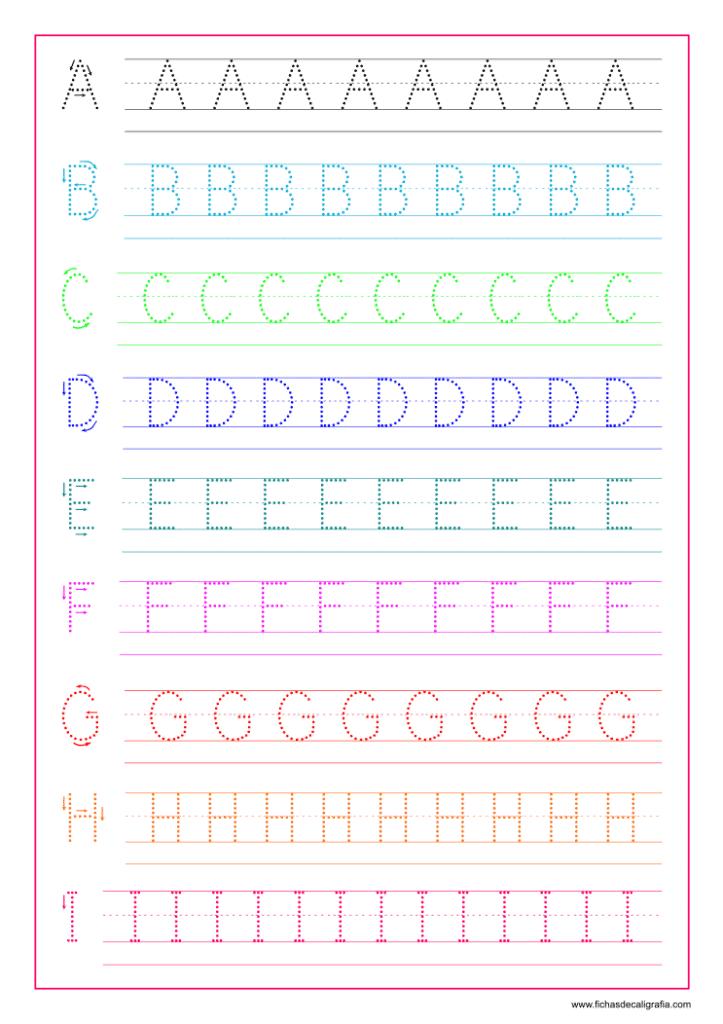 Hoja de Caligrafía con letras del abecedario en mayúsculas de la A a la I