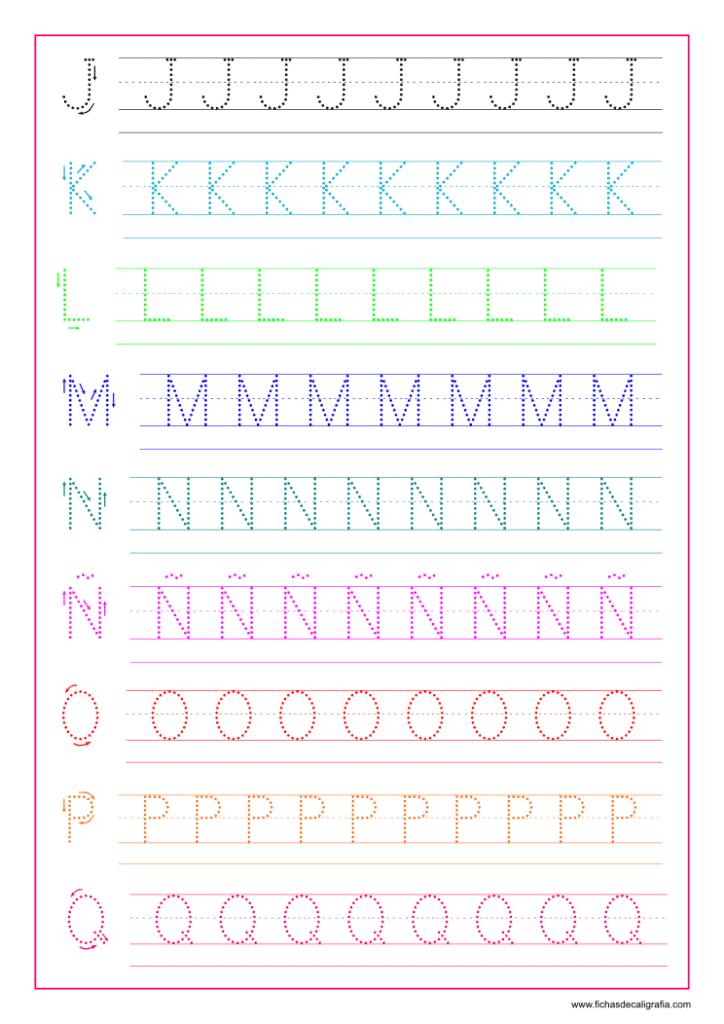 Hoja de Caligrafía con letras del abecedario en mayúsculas de la J a la Q