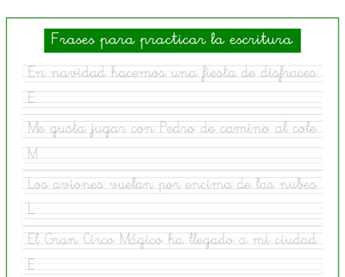 Ficha de caligrafia con frases en pdf para imprimir, recursos educativos