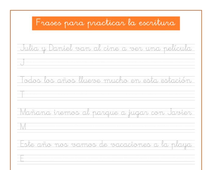 Ficha de caligrafia para practicar escritura, recursos educativos