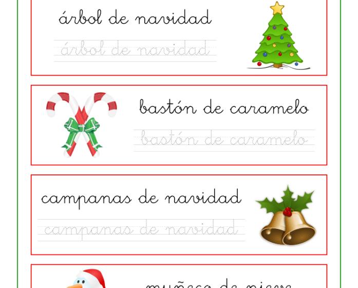 Caligrafía con palabras y dibujos de navidad, recursos educativos