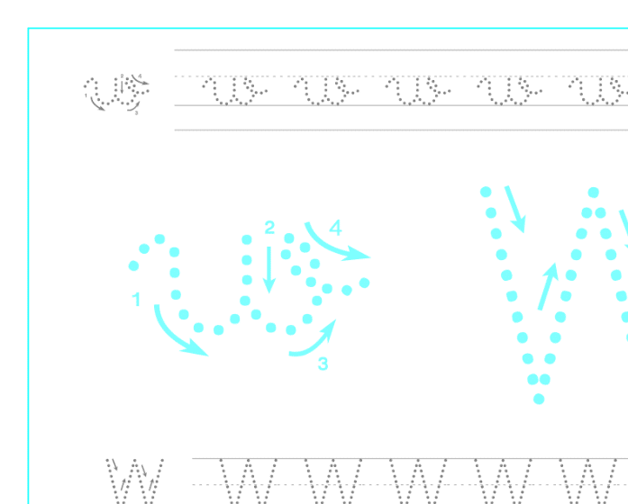 Ficha de caligrafía de la letra W, recursos educativos